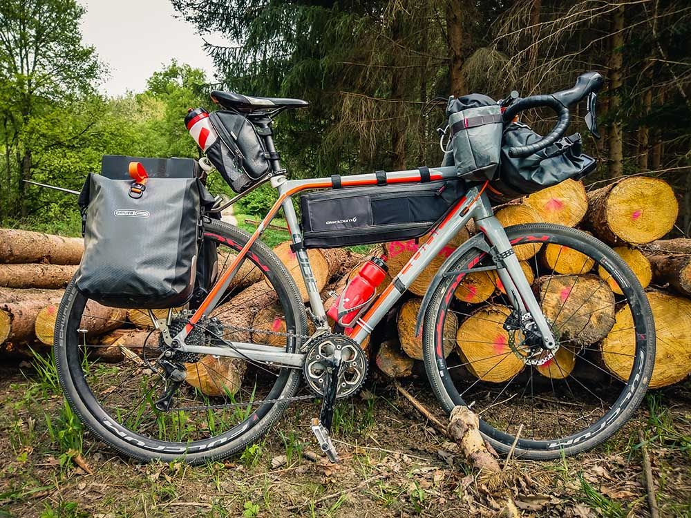cube cross race pro with bikepacking bags