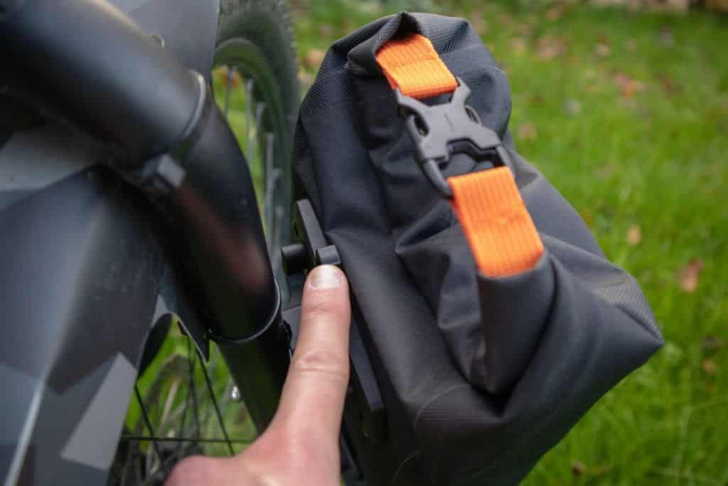 Ortlieb Fork Pack Test bike bag on the fork mounting bracket open