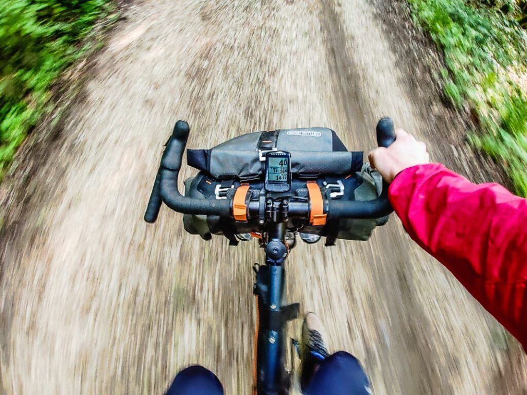 Ortlieb bikepacking bags experience in action shot