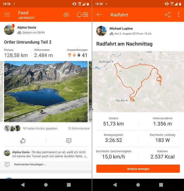 Strava Fahrradcomputer App