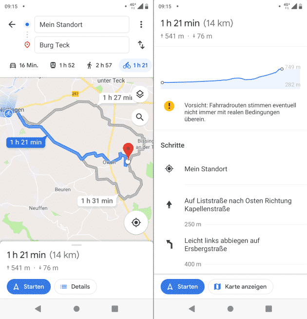 google maps fahrrad navi app
