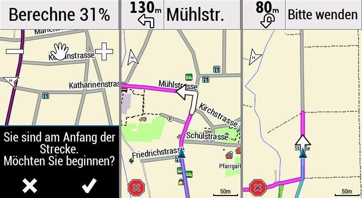 Garmin Edge Explore Navigation Abbiegehinweis Rerouting