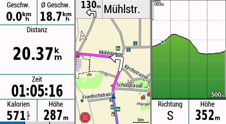 Garmin Edge Explore Test Datenseite Karte Hoehenprofil