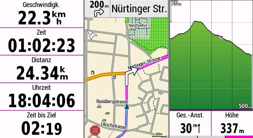 Garmin Edge 1030 Test Datenseite Karte Höhe