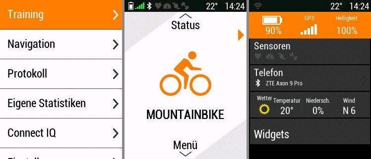 Garmin Edge 530 Erfahrungen mit dem GPS Fahrradcomputer - Startseite Navigation Statusseite