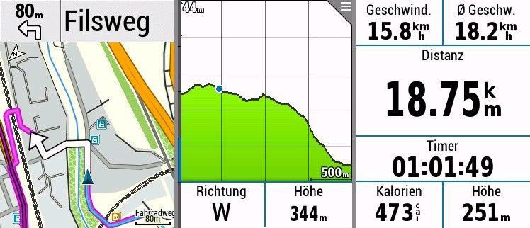 Garmin Edge 530 Fahrrad Navigation auf dem GPS Fahrradcomputer - Karte Höhenprofil Datenseite