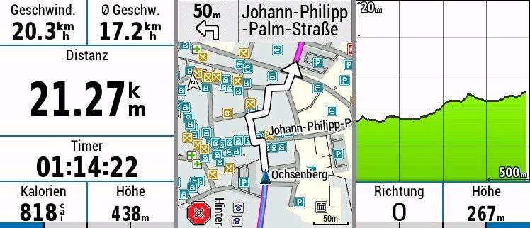 Garmin Edge 830 Test - Datenfelder Höhenprofil und Karte bei Fahrrad Navigation
