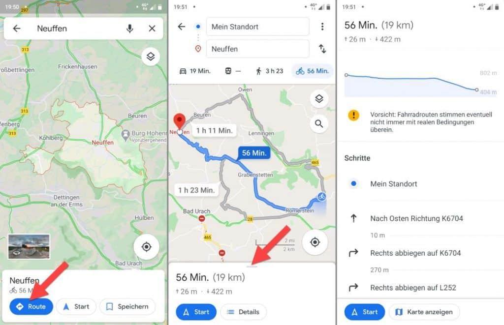 Google Maps Fahrrad Legende Höhenmeter