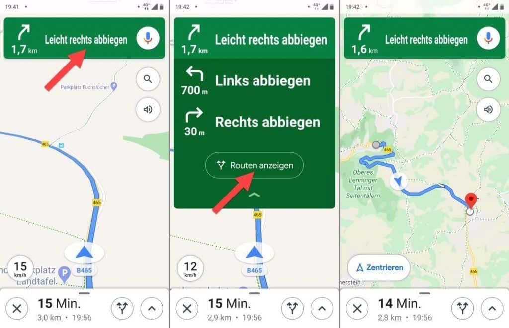 Google Maps Fahrrad Navigation Karte Übersicht