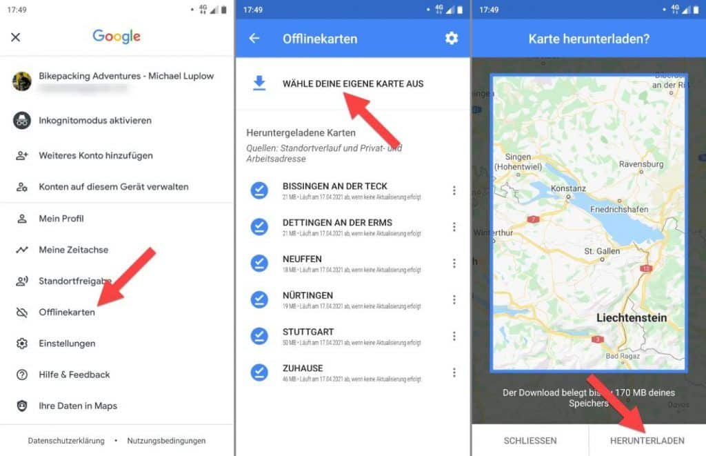 Google Maps Fahrrad Navigation Offline Karten Download