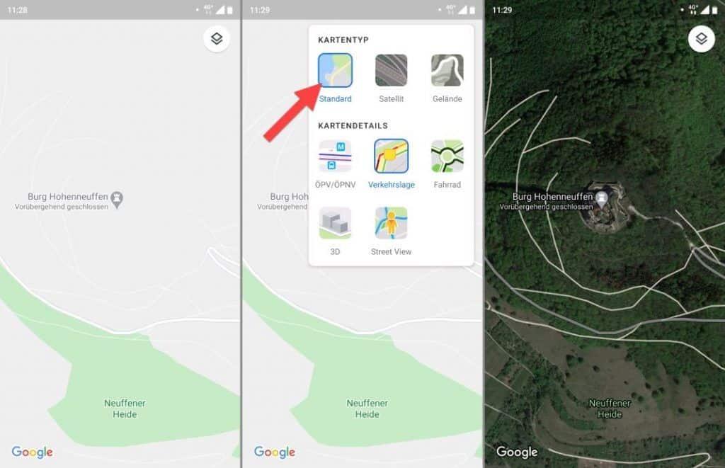 Google Maps Fahrrad einstellen Kartentyp