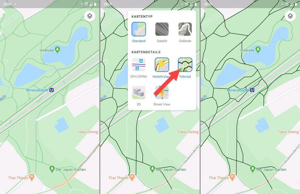 Google Maps Set Bike and Show Bike Lanes