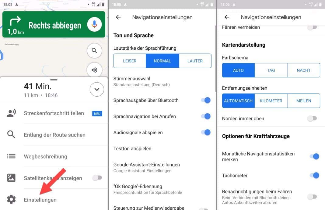 Google Maps for bike settings