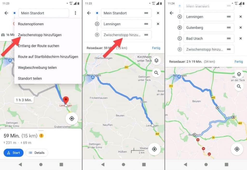 Google Maps für Fahrrad Zwischenziele einfügen