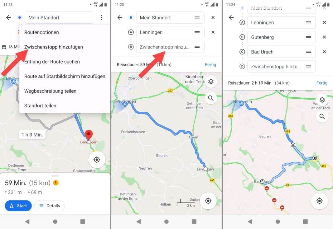 Google Maps for Bicycle Insert waypoints