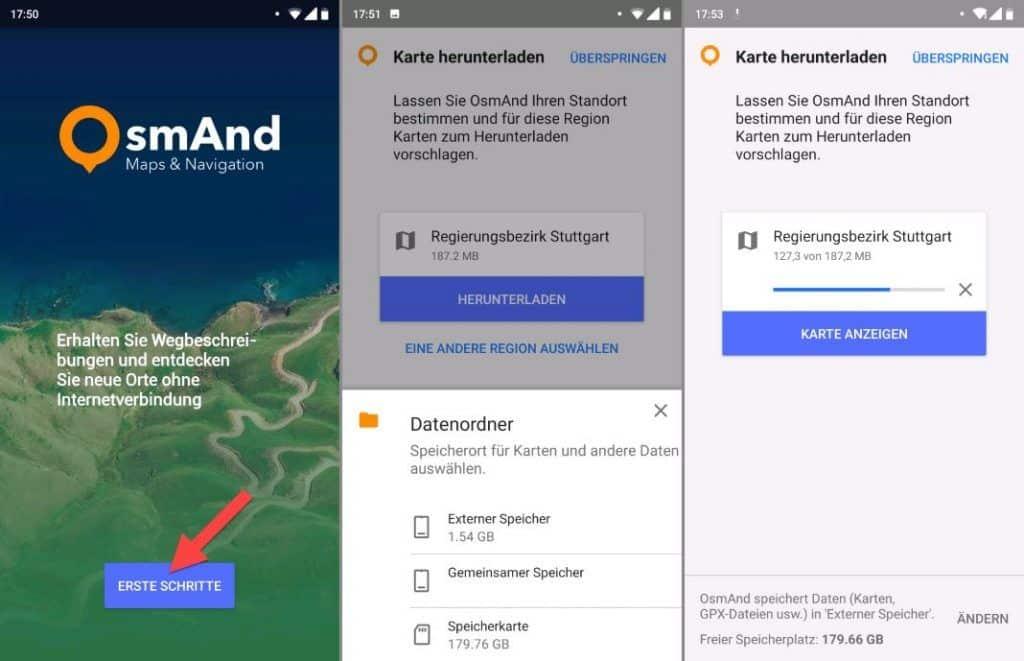 OsmAnd Android Karten Speicherort Login