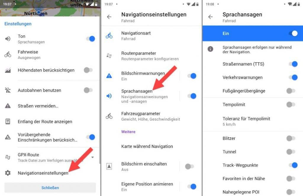 OsmAnd Android Sprachausgabe Sprachansagen