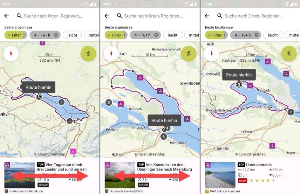 Outdooractive App Radtouren wechseln