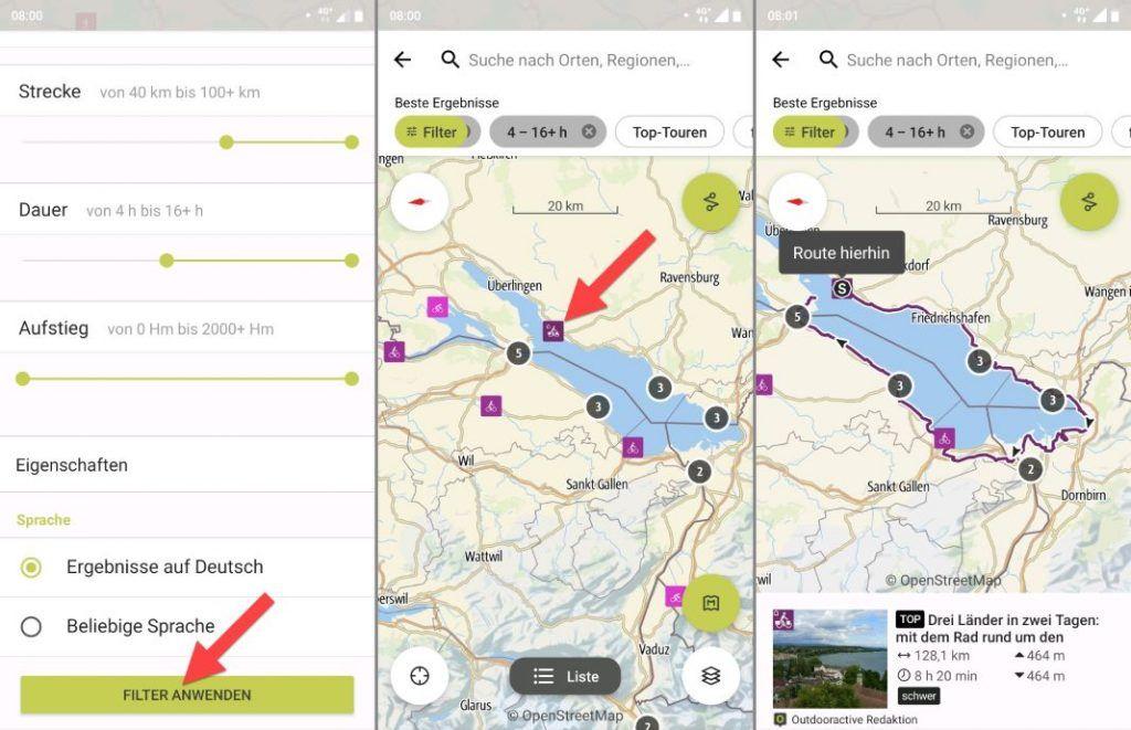 Outdooractive App Test Tour Filter