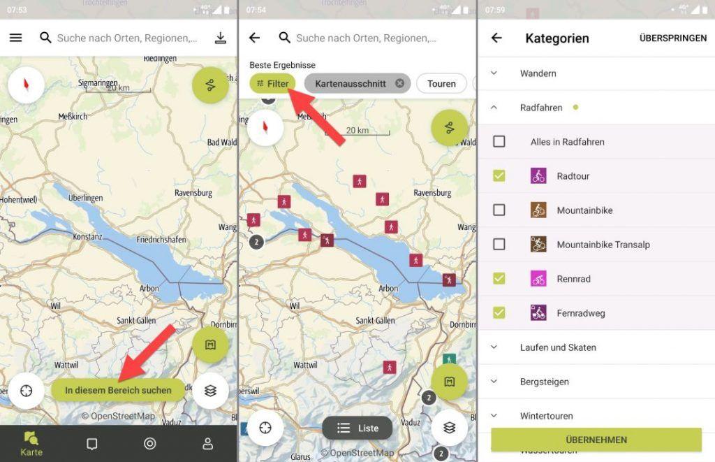 Outdooractive App Tourenplaner filtern