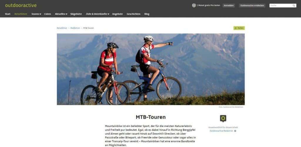 Outdooractive Tourenplaner Radtouren