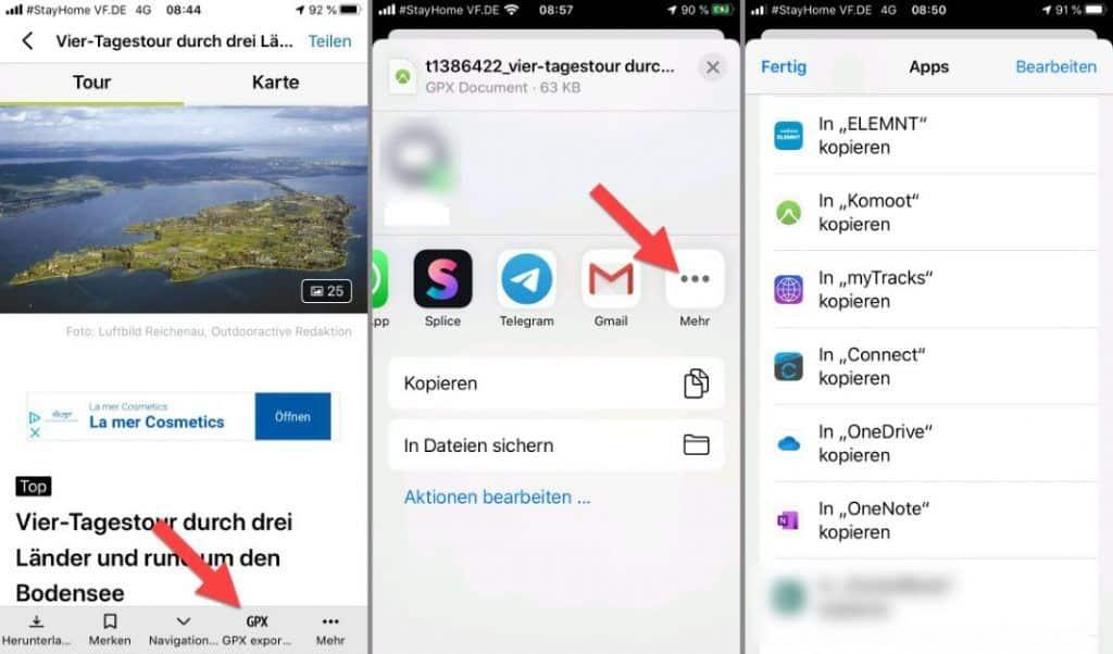 Outdooractive iPhone GPX Export