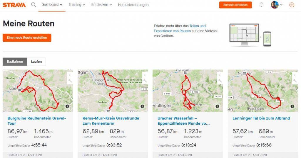 Strava Routenplaner Test Meine Routen