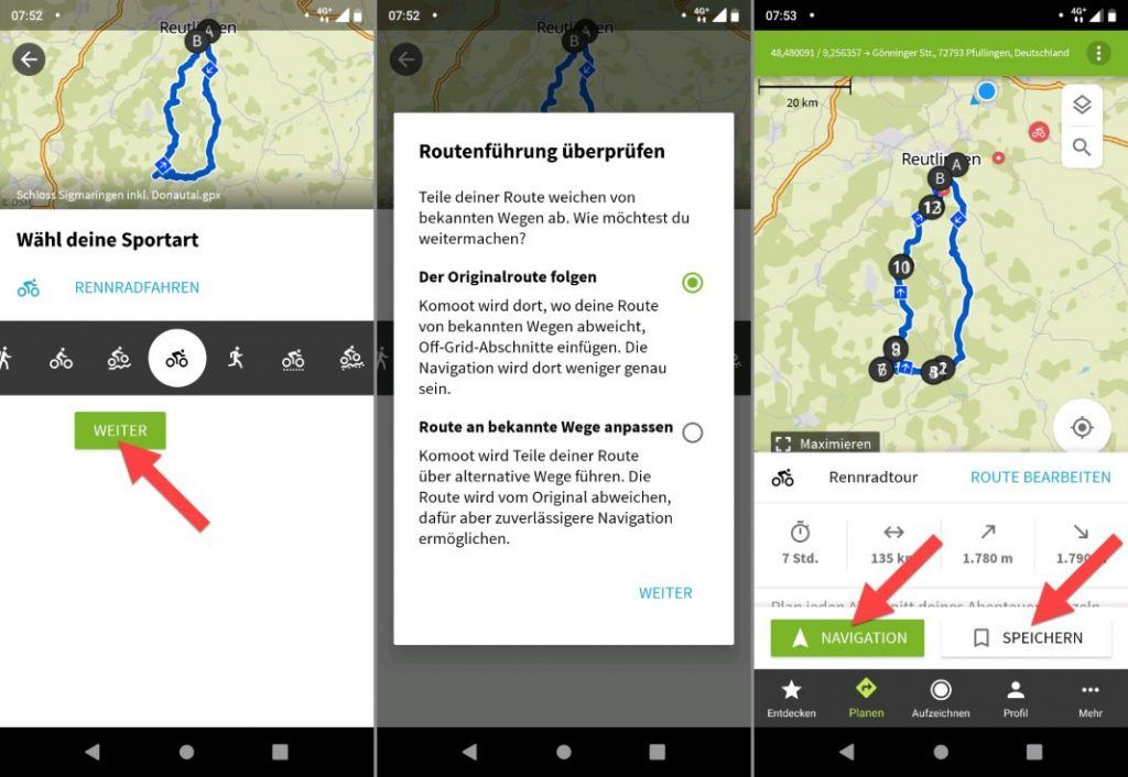 komoot GPX File Import Android