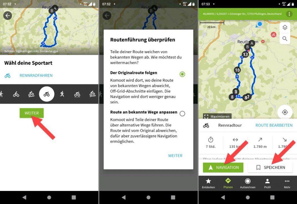 komoot GPX Datei Importieren Android