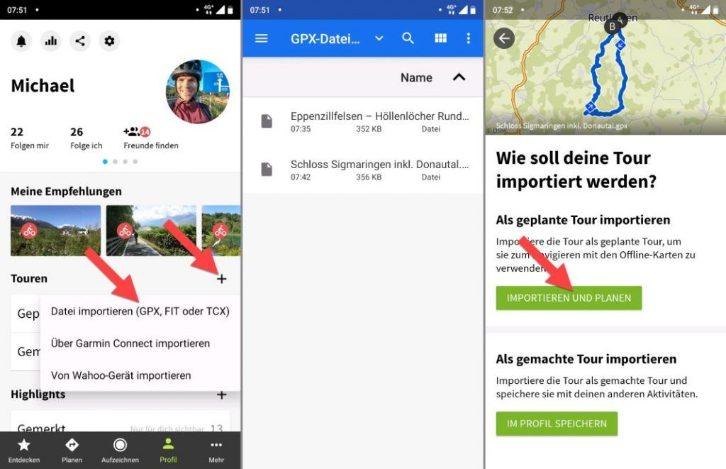 komoot GPX Importieren Android