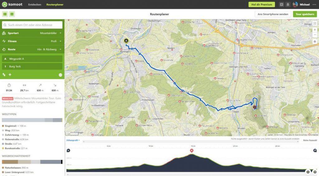 komoot Routenplaner Tour planen Hin Rueckweg