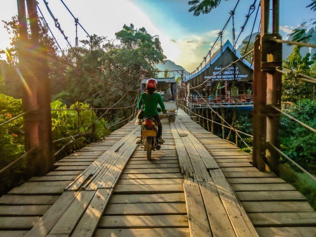 Laos Bike Tour Vang Vieng Sunset