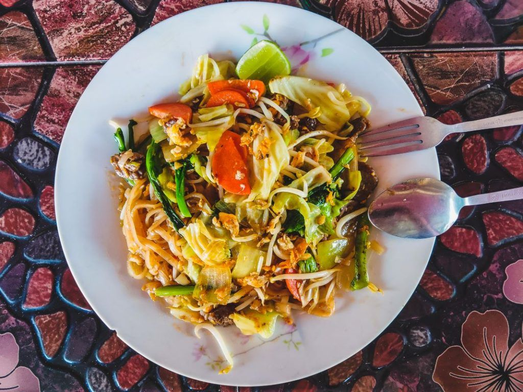 Laos Food Lunch Fried Noodles
