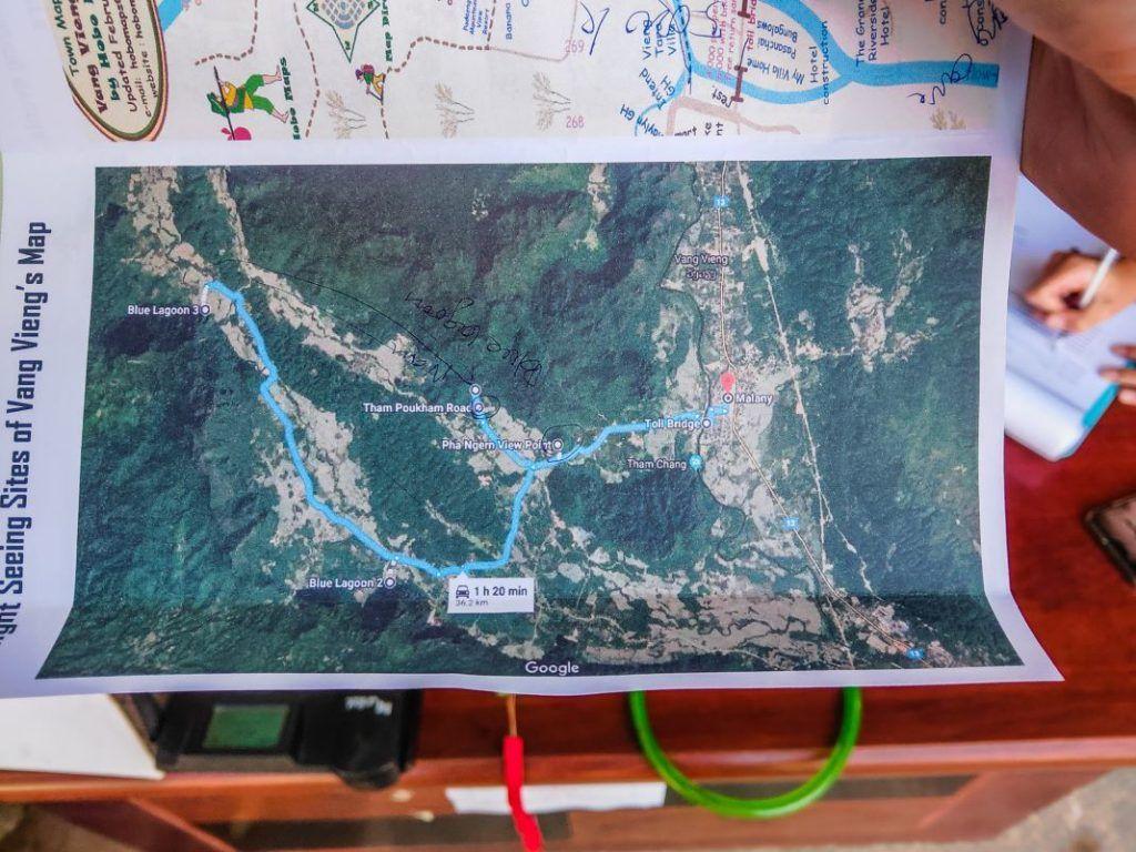 Vang Vieng Blue Lagoon Map Map