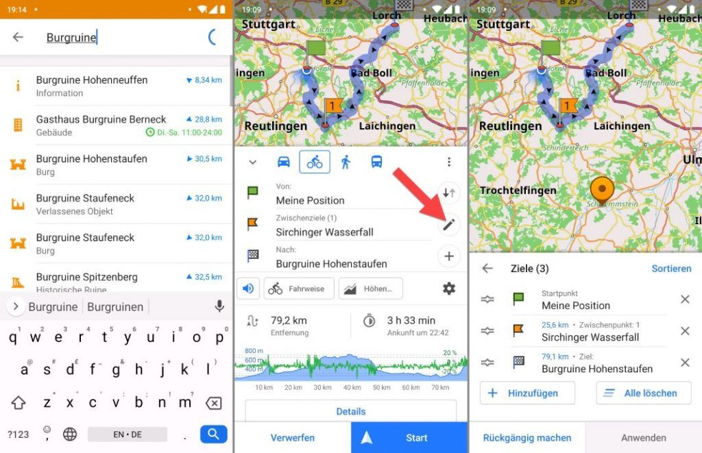 OsmAnd Android Anleitung Tourplanung