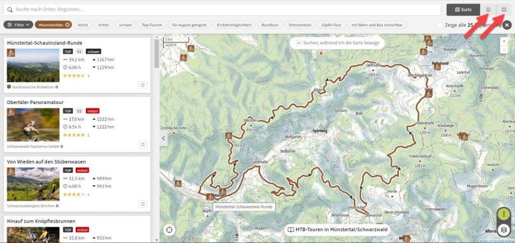 Outdooractive Radtouren Tourenplaner Karte