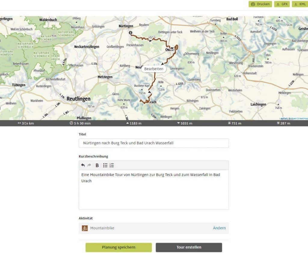 Outdooractive tour planner Plan route