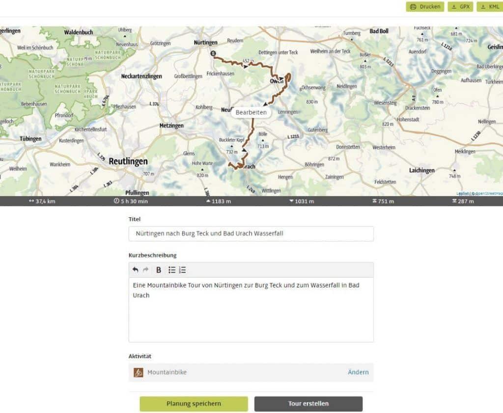 Outdooractive Tourenplaner Route planen