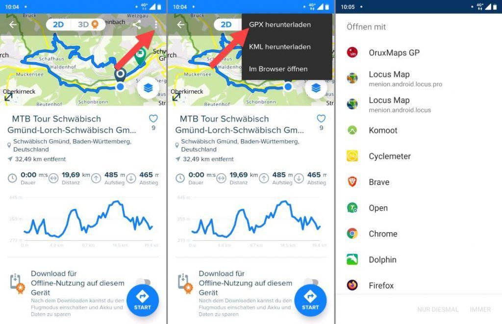Bikemap App Test Bikemap GPX Export in App