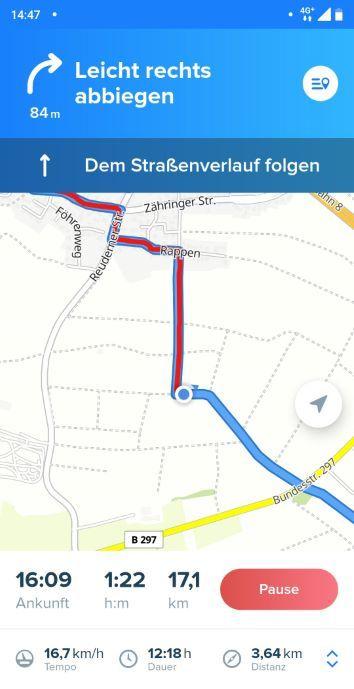 Bikemap App Test Erfahrungen mit aktiver Navigation auf Karte