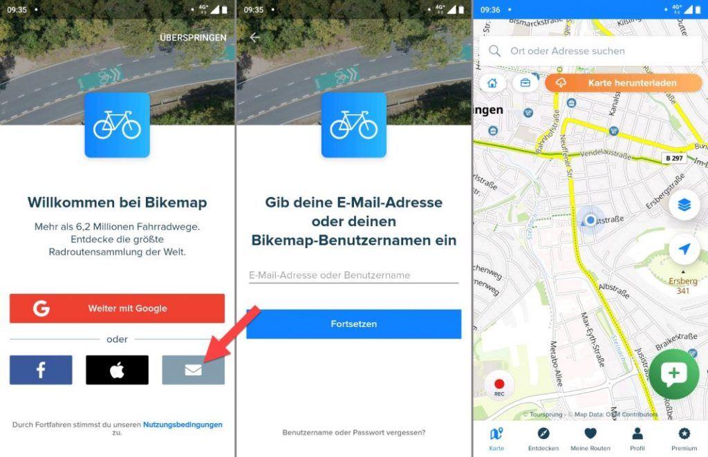 Bikemap App Test Login Bildschirm