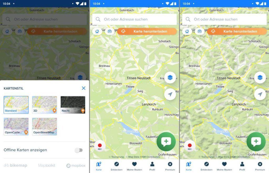 Bikemap Erfahrungen Karten Einstellungen Standard 3D