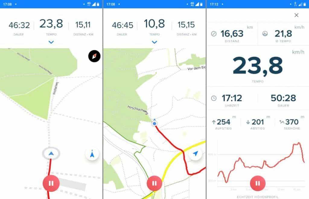 Bikemap Navigation Erfahrungen mit schneller Route aufzeichnen