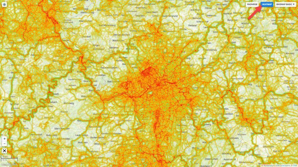 Bikemap Routenplaner Heatmap im Test