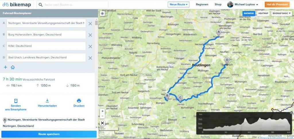 Bikemap Routenplaner Route erstellen mit Zwischenzielen
