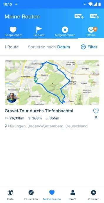 Bikemap Test Erfahrungen Offline Karten und Strecke