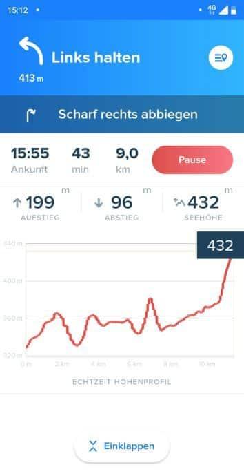 Bikemap Test Fahrrad Navigations App mit Legende und Höhenverlauf