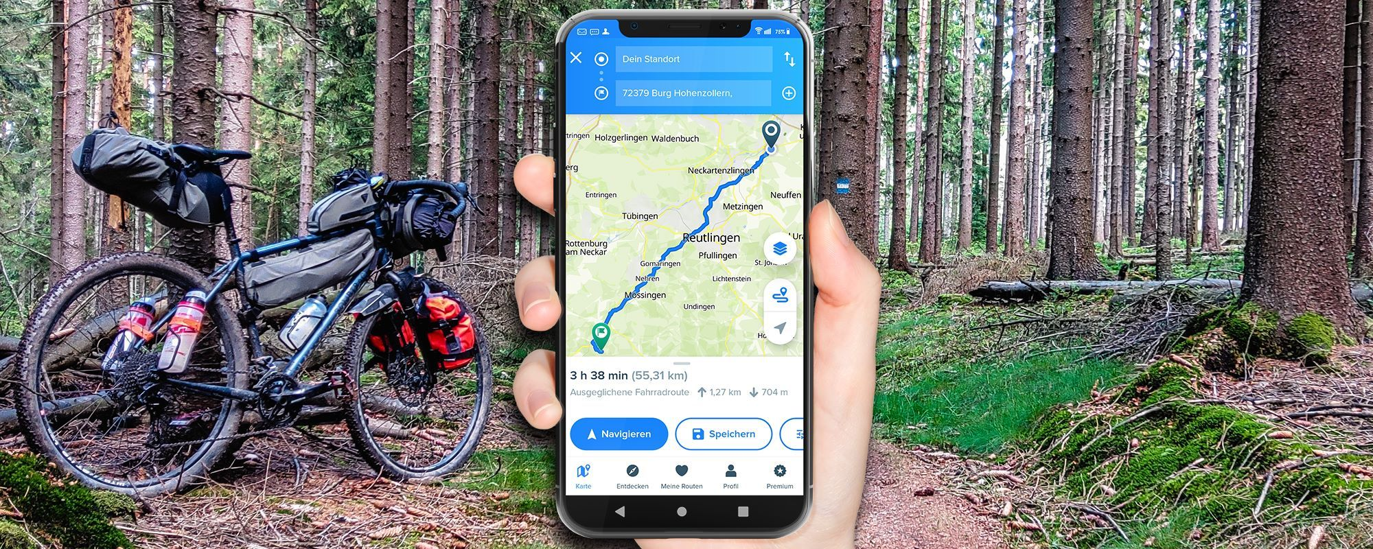 Bikemap experiences - Bike navi app in test: create route & navigate on iPhone, Android and on the web