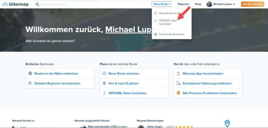Bikemap XML Import Upload im Web