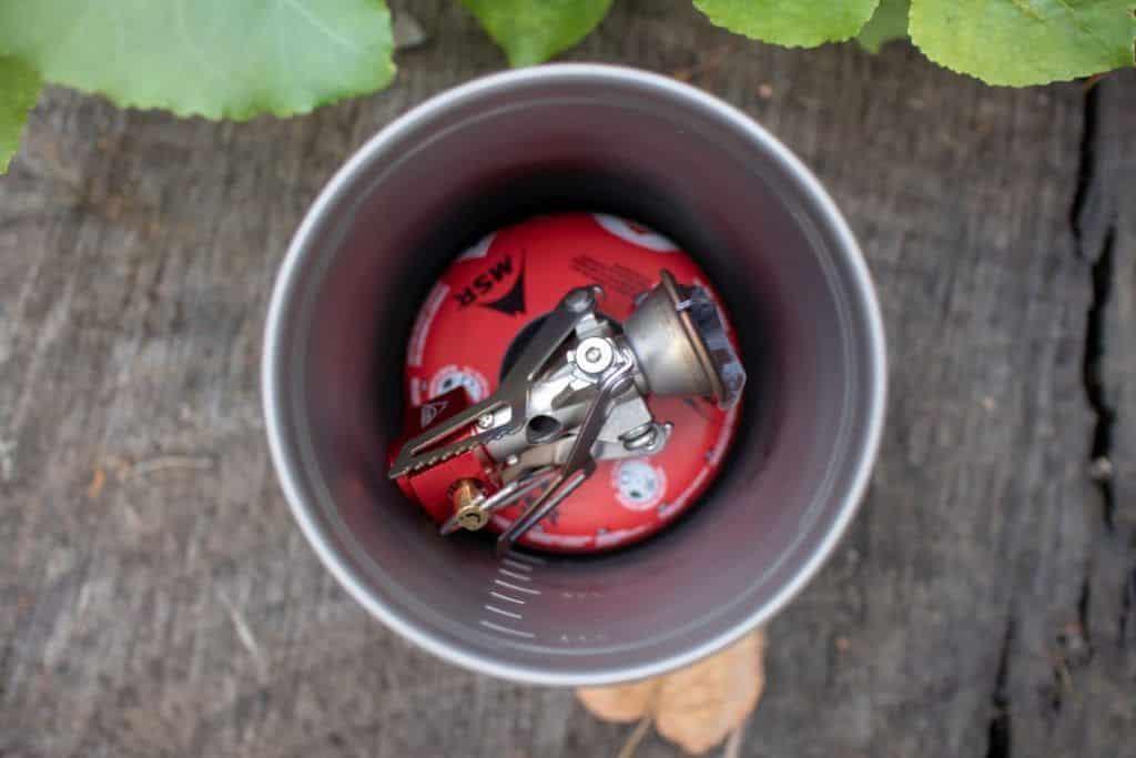 MSR Pocket Rocket 2 Test Outdoor Gaskocher im Topf von oben